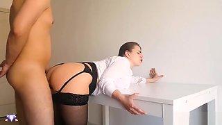 Secretary Suck Cock Boss and Cum Doggystyle - Cristall Gloss