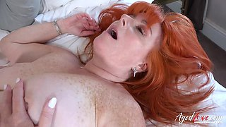 Busty mature lady fucked between tits and straight into her pleasure hole
