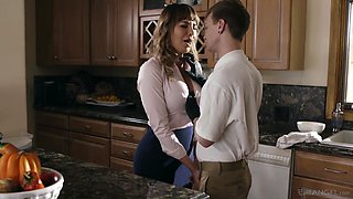 Kinky stepson fucks mouth watering cougar Dana DeArmond and cums on her tummy