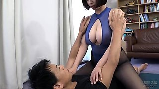 Pantyhosed Asian babe with big hooters has a hunger for cock