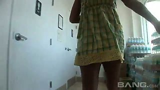 Torrid svelte buxom blonde bitch tickles her clit in the shop toilet