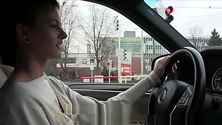Amateur Beauties Fingering Slowly In A Car