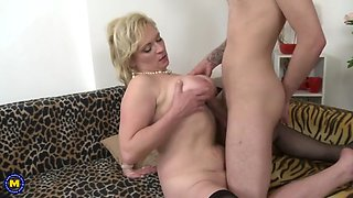 Busty natural mature mother seduce lucky son