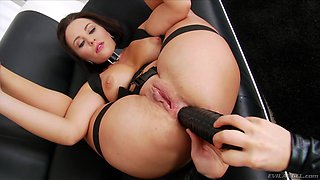 Lesbian Alysa putting toys into her sweetie's pussy and butthole