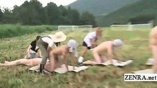 Subtitle CFNM Japanese milking semen under the blue sky
