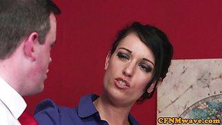 UK cfnm schoolgirls and milf blowing cock