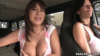 Three Cocks Divine Asian Slut Car Cock Sucking