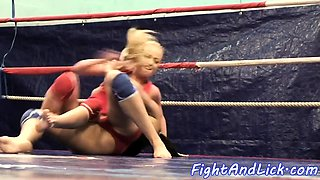Busty wrestling lesbian pussylicked nicely