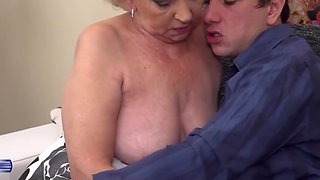 Taboo sex with old grandma and young boy