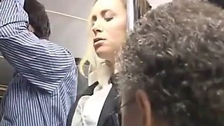 Blonde groped in bus