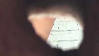 Lovely ass of a stranger white chick filmed on cam in the restroom