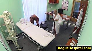 Euro nurse spitroasted in trio with doctors