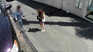 Redhead chick sucks off tow truck drivers dick in the car