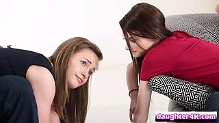Tempting teen April Brookes and Serenity Haze enjoying hot foursome