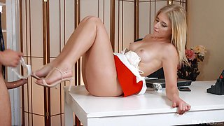 Blonde in high heels Aria Logan gives a great blowjob and receives cum
