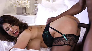 Dark-haired MILF squirts from stepson's BBC