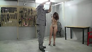 CMNF - Chained girl forced to cum