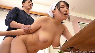 Busty Japanese housewife Tsukimoto Ai eats cock instead of breakfast