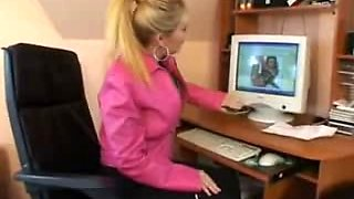 German Blond Busty Mature Anal sex in the office