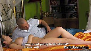 Chesty virgin hottie giving handjob