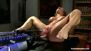 two machines double penetrating horny blonde slut amy brooke