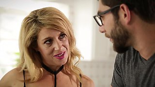 Mature woman loves the young dick in her throat