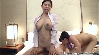 Stunning Asian stewardesses please their nasty boss