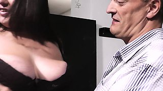 Plumper in fishnets rides her older boss cock