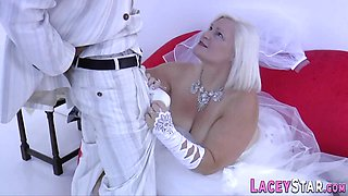 Mature bride sucks and rides stiff BBC