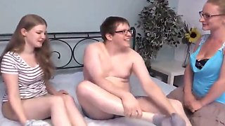 Fat nerdy boy with small dick fucks two innocent roommates
