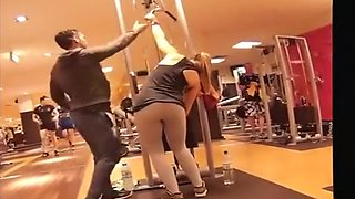 Long ponytail chick secretly filmed in the gym