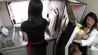 Risky JAV sex with mother in law in kitchen