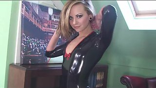 Natalia K takes off her latex outfit to reveal her natural perky tits
