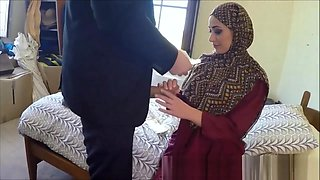 Poor Arab Girl Desperate For Cash Fucks Big White Cock