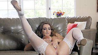 She Only Leaves on Her Stockings and Heels While Orgasming
