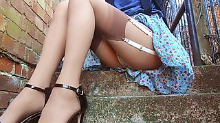 Upskirt On The Steps