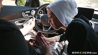 Slutty dark haired nun gives steamy deep throat to her friend in car