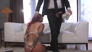 Redhead mature wife Tana Lea drops on her knees to suck his dick