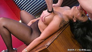 his arousing secretary in black stockings fucked him just right