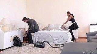 Hardcore ass fuck and a cum shot for blonde MILF maid Dominica Phoenix
