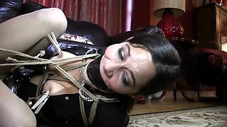 Slave maid cleans house for her mistress before a bondage session