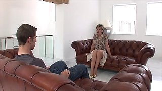 British lady and young guy fun on sofa
