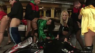 orgy fun in the middle of a karting course