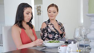 busty lesbians will eagerly use a strapon