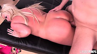 Blonde bombshell Julie Cash gets her big boobs covered in fresh semen