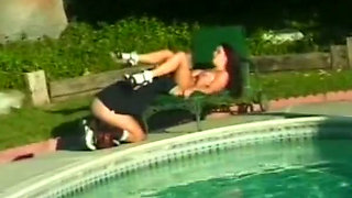 Rather flexible dark haired nympho gives head before outdoor fuck