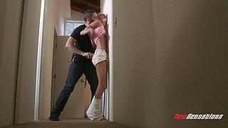 Blonde hottie Emma Hix enjoying her lad's throbbing schlong