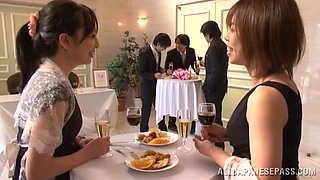 Japanese bride gets fucked by a few men after the ceremony