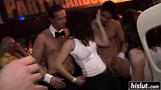 Amazing beauties give blowjobs at a party