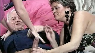 Filthy blonde whore hooks up with a mature couple for threesome
